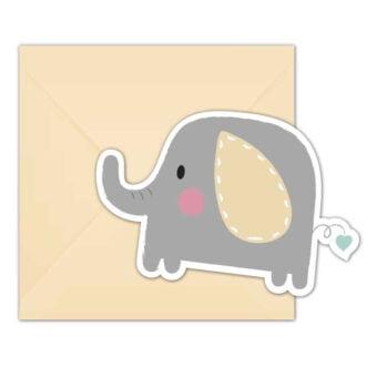 Elefant Baby Inbjudningskort