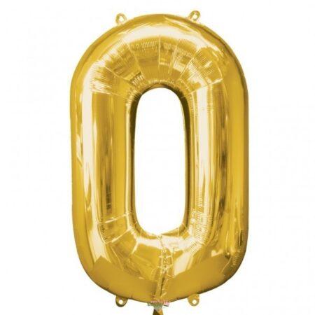 Folieballong Siffror Guld, 86 cm - 0