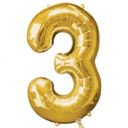 Folieballong Siffror Guld, 86 cm - 3