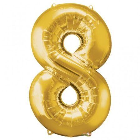 Folieballong Siffror Guld, 86 cm - 8