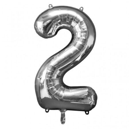 Folieballong Siffror Silver, 86 cm - 2