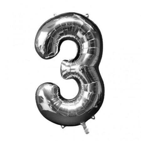 Folieballong Siffror Silver, 86 cm - 3