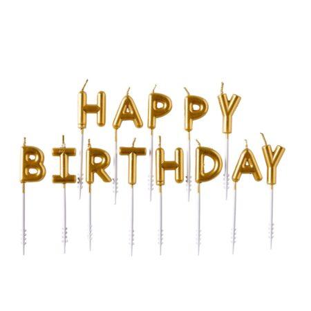 Tårtljus Happy Birthday Guld