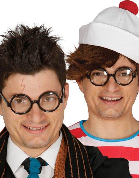 Svarta Runda Harry Potter Inspirerat Kostymglasögon med Klart Glas