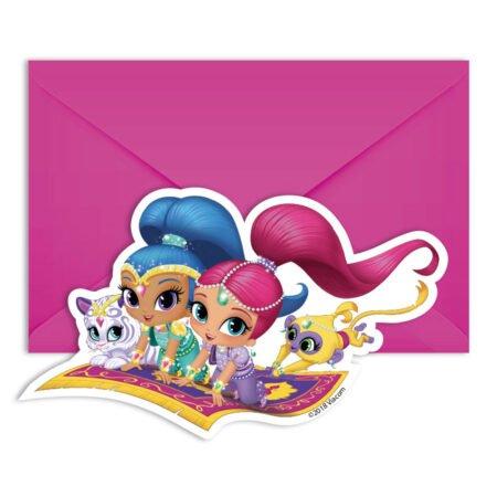 Shimmer och Shine Glitter Friends Inbjudningskort